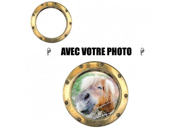 Sticker trompe l'oeil hublot avec votre photo