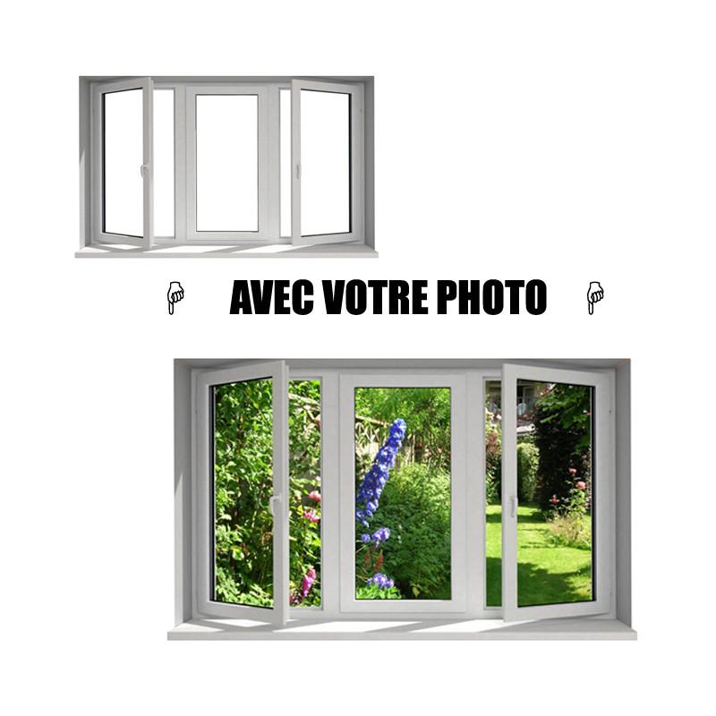 Stickers fen tre avec votre photo l 100cm x h 60cm for Fenetre 50 x 60