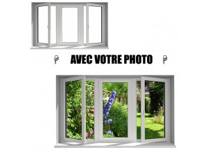Stickers fenêtre avec votre photo L 130cm x H 78cm