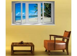 Stickers trompe l'oeil fenêtre Les cocotiers