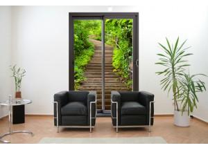 Stickers trompe l'oeil baie vitrée Escalier dans la nature