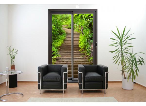 Sticker d coration murale trompe l 39 oeil baie vitr e escalier for Sticker decoration de porte trompe l oeil escalier