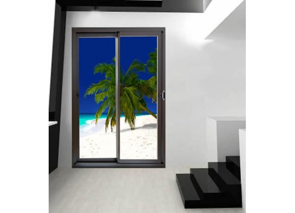 Stickers trompe l'oeil baie vitrée Paysage plage et sable blanc