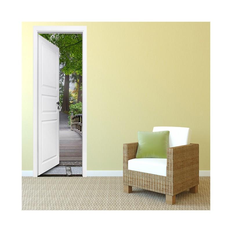 stickers porte escalier dans la nature. Black Bedroom Furniture Sets. Home Design Ideas