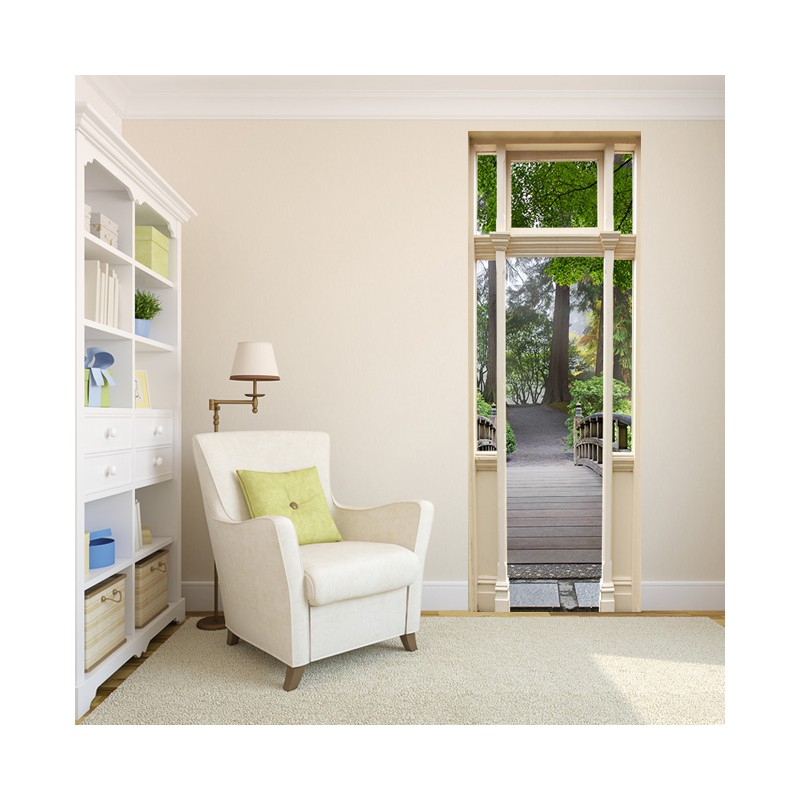 latest stickers trompe luoeil porte pont en with trompe. Black Bedroom Furniture Sets. Home Design Ideas