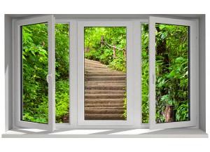 Stickers trompe l'oeil fenêtre Escalier dans la nature