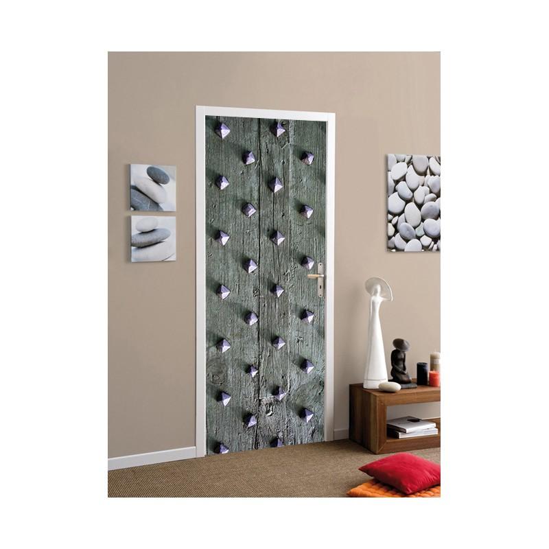 stickers pour porte effet bois et clous tatoutex stickers. Black Bedroom Furniture Sets. Home Design Ideas