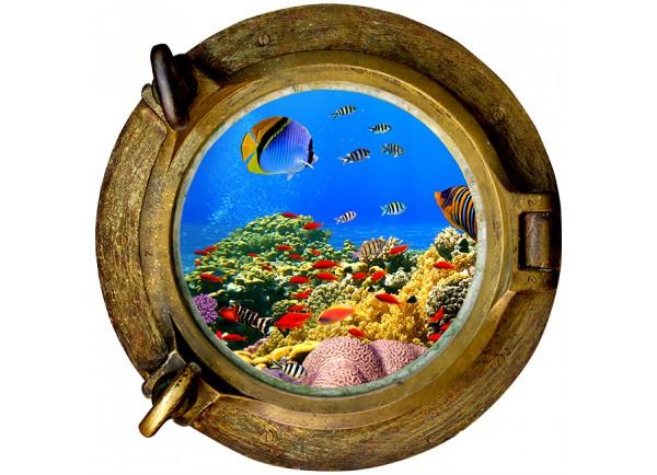 Stickers trompe l'oeil hublot Les fonds sous marin