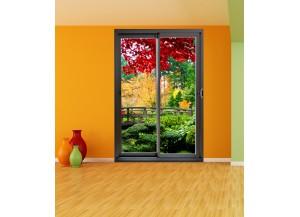 Stickers trompe l'oeil baie vitrée Paysage jardin exotique