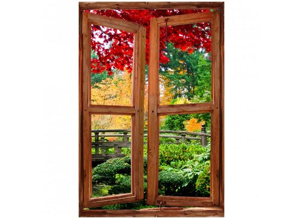 Stickers trompe l'oeil fenêtre avec jardin exotique
