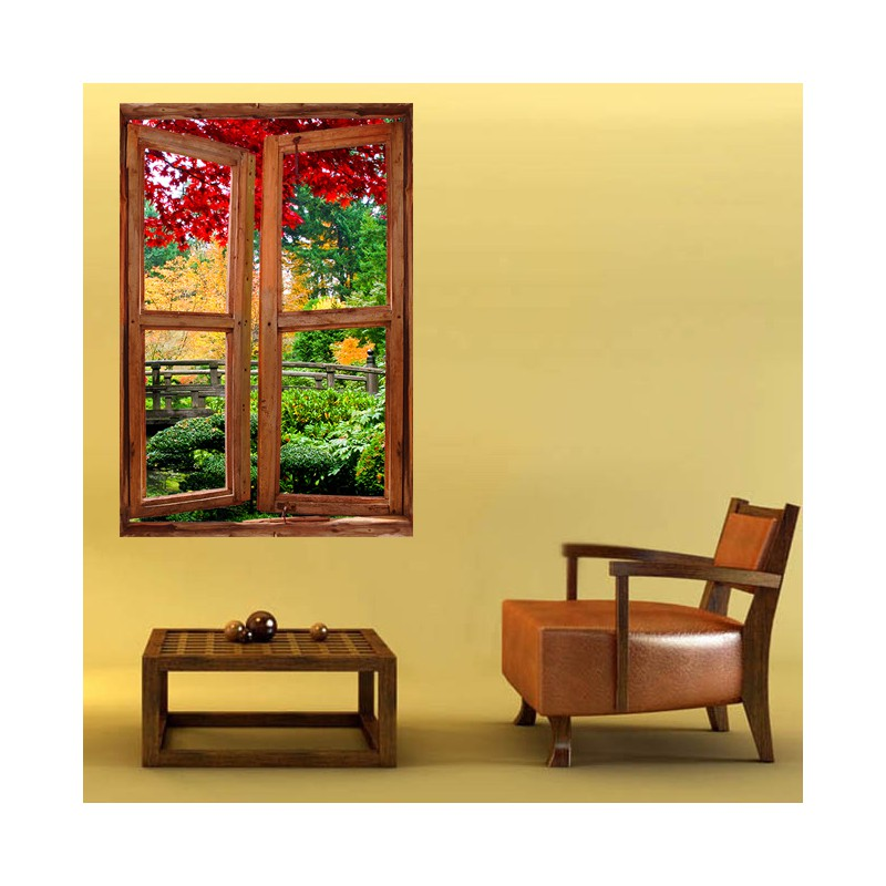 Stickers muraux trompe l 39 oeil jardin d coration murale fen tre - Trompe l oeil jardin ...