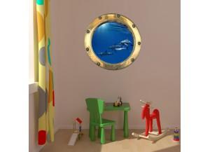 Stickers trompe l'oeil hublot banc de dauphins