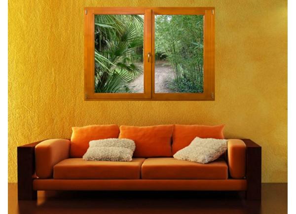 Stickers trompe l'oeil fenêtre avec palmiers et bambous