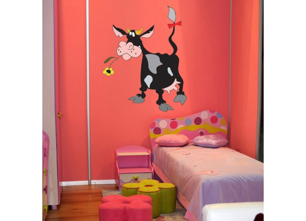 Stickers vache et noeud rouge