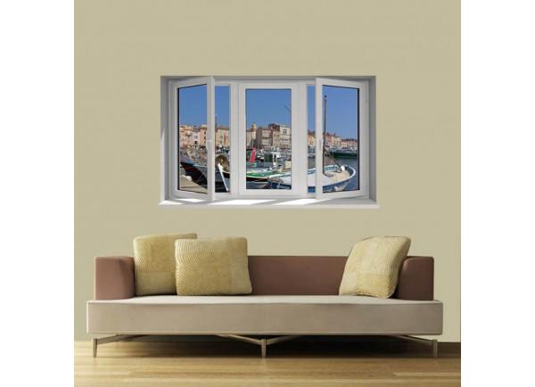 Stickers trompe l'oeil fenêtre Saint Tropez
