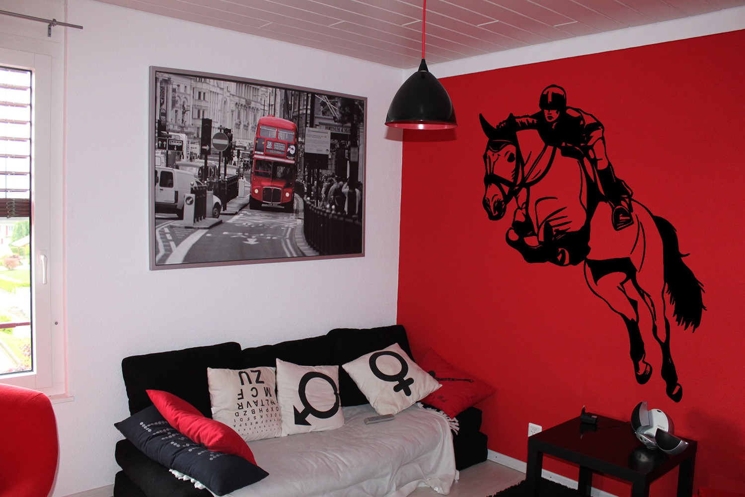 Sticker mural cheval stunning fabulous chambre petite for Pochoir mural geant