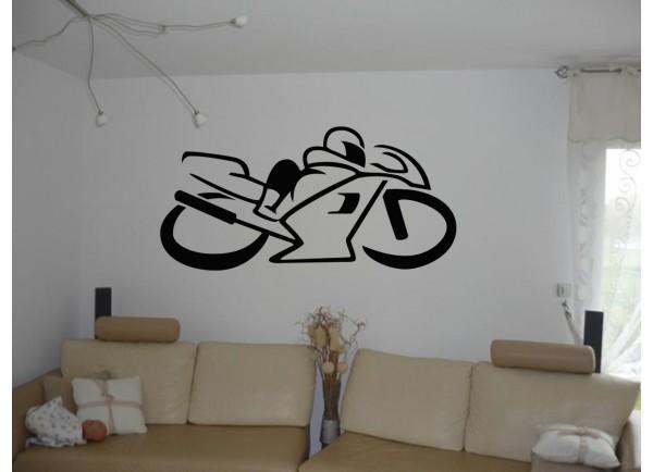 stickers Silhouette de moto de course