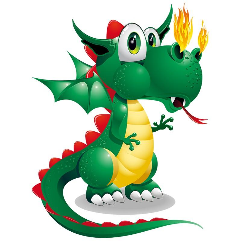 Stickers dragon vert d coration murale pour enfant dragon tatoutex - Dessin de bebe dragon ...
