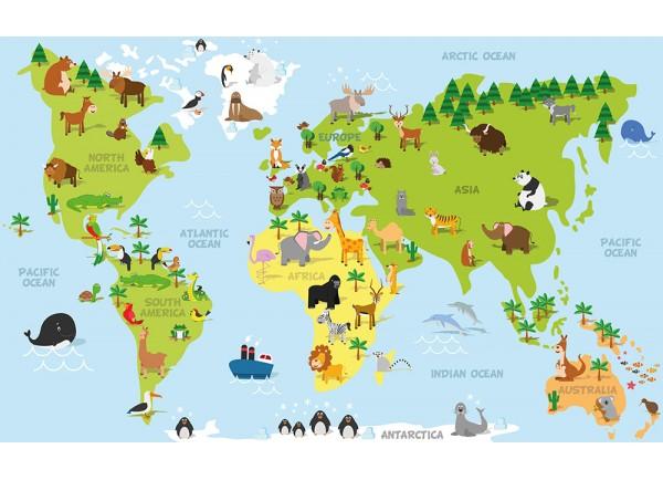 Stickers pour enfant d coration murale enfant stickers - Carte du monde a imprimer gratuite ...