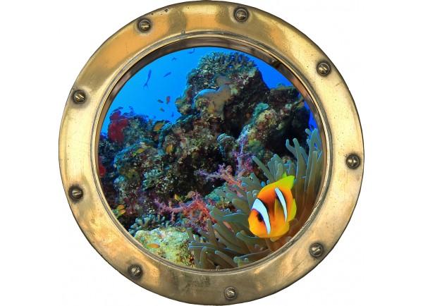 Stickers trompe l'oeil hublot poissons tropicaux