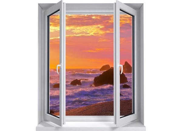 Stickers trompe l'oeil fenêtre mer et couché de soleil