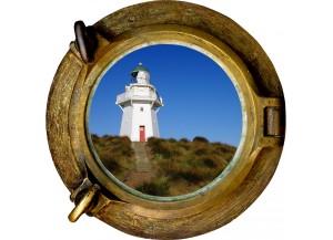 Stickers trompe l'oeil hublot phare de bord de mer