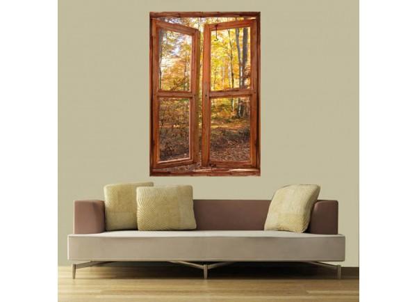 Stickers trompe l'oeil fenêtre forêt d'automne