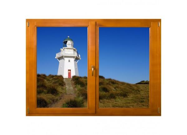 Stickers trompe l'oeil fenêtre phare de bord de mer