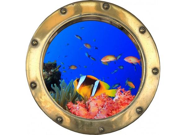 Stickers trompe l'oeil hublot poissons et corail