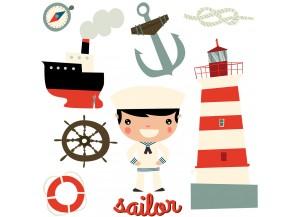 Stickers planche de déco marine enfant