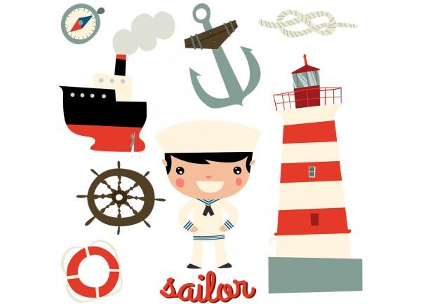 Stickers planche déco marine enfant