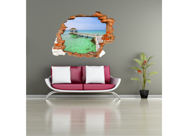Sticker trompe l'oeil 3D mur déchiré cabane sur l'eau