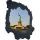 Sticker trompe l'oeil 3D mur déchiré noir Statue de la Liberté