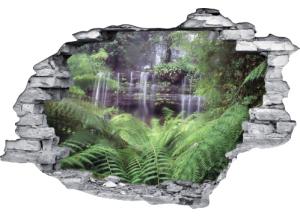 Sticker trompe l'oeil 3D mur déchiré cascade dans la jungle