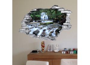 Sticker trompe l'oeil 3D mur déchiré cascade et riviere