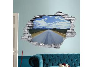 Sticker trompe l'oeil 3D mur déchiré route