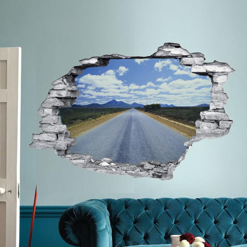 sticker trompe l 39 oeil 3d mur d chir route. Black Bedroom Furniture Sets. Home Design Ideas