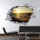 Sticker trompe l'oeil 3D mur déchiré falaise en bord de mer