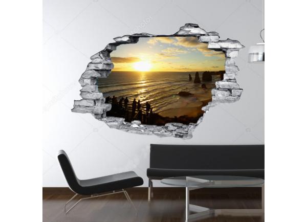 sticker trompe l 39 oeil 3d mur d chir coucher de soleil ocean. Black Bedroom Furniture Sets. Home Design Ideas