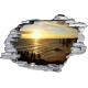 Sticker trompe l'oeil 3D mur déchiré couché de soleil ocean