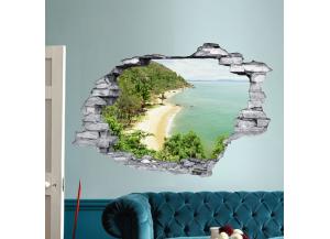 Sticker trompe l'oeil 3D mur déchiré plage et cocotiers