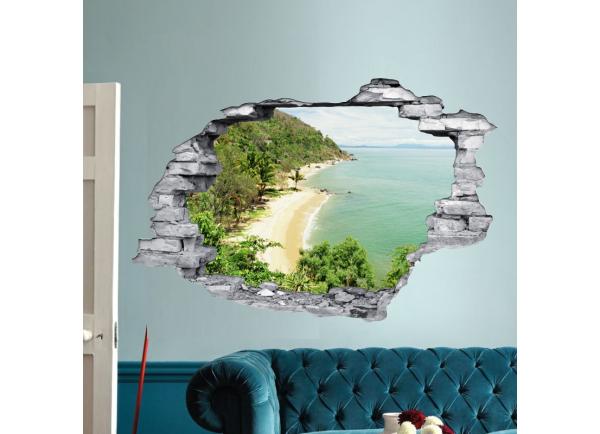 Sticker trompe l'oeil 3D mur déchiré plage et rochers