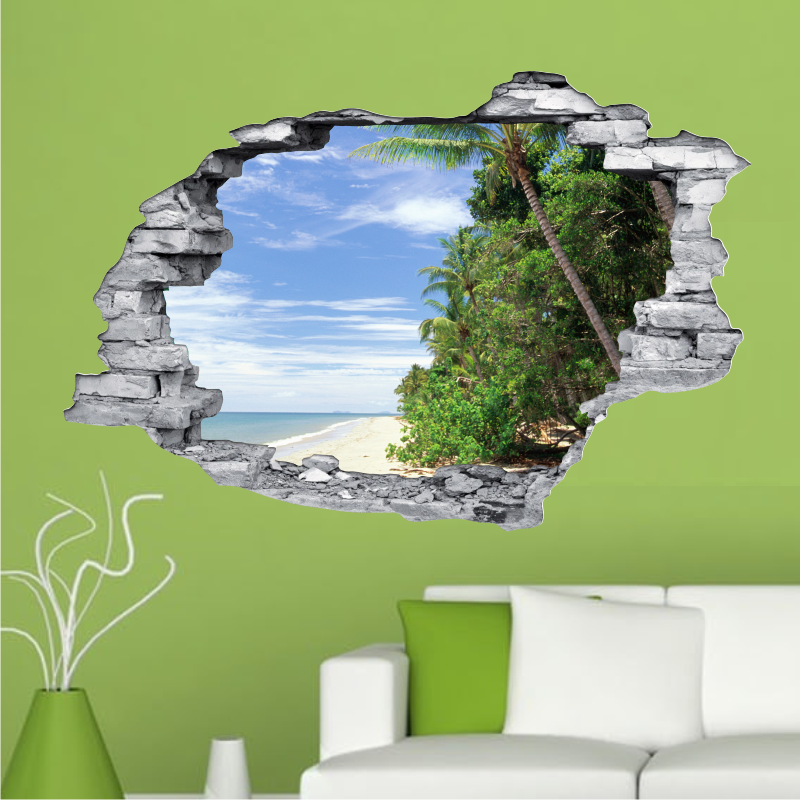 sticker trompe l 39 oeil 3d mur d chir plage et cocotiers. Black Bedroom Furniture Sets. Home Design Ideas