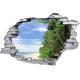 Sticker trompe l'oeil 3D mur déchiré plage et cocotiers 2