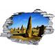 Sticker trompe l'oeil 3D mur déchiré rochers du desert