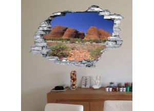 Sticker trompe l'oeil 3D mur déchiré rochers du desert aride