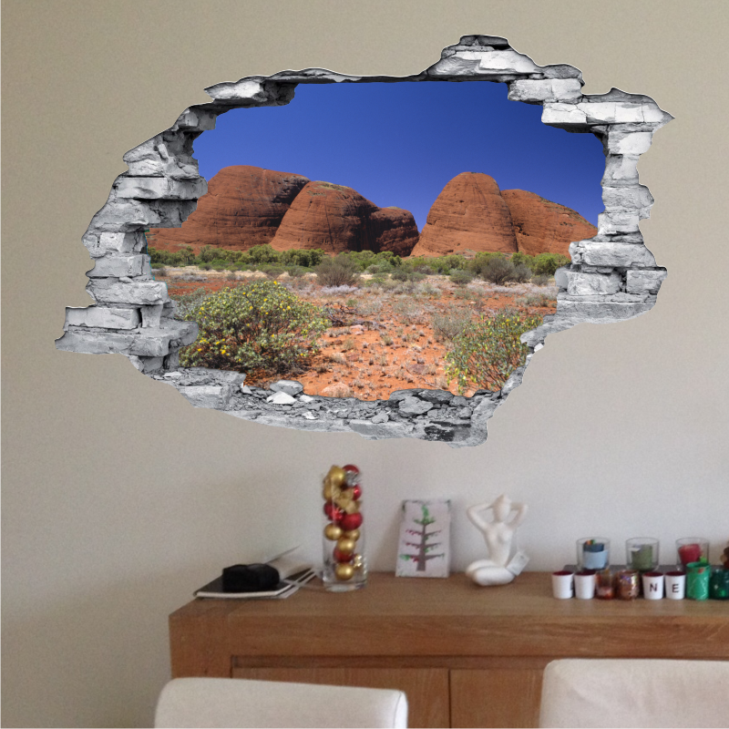 sticker trompe l 39 oeil 3d mur d chir desert aride. Black Bedroom Furniture Sets. Home Design Ideas