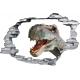 Sticker trompe l'oeil 3D mur déchiré t-rex