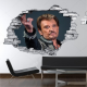 Sticker trompe l'oeil 3D mur déchiré Johnny Hallyday au revoir