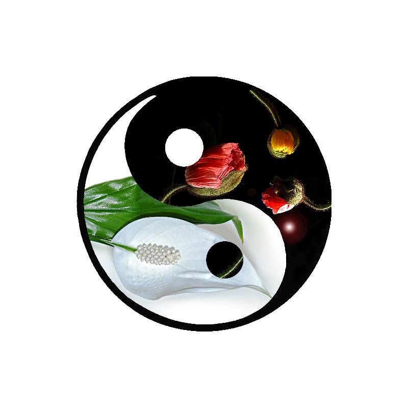 Stickers ying yang fleur zen tatoutex stickers for Deco ying yang